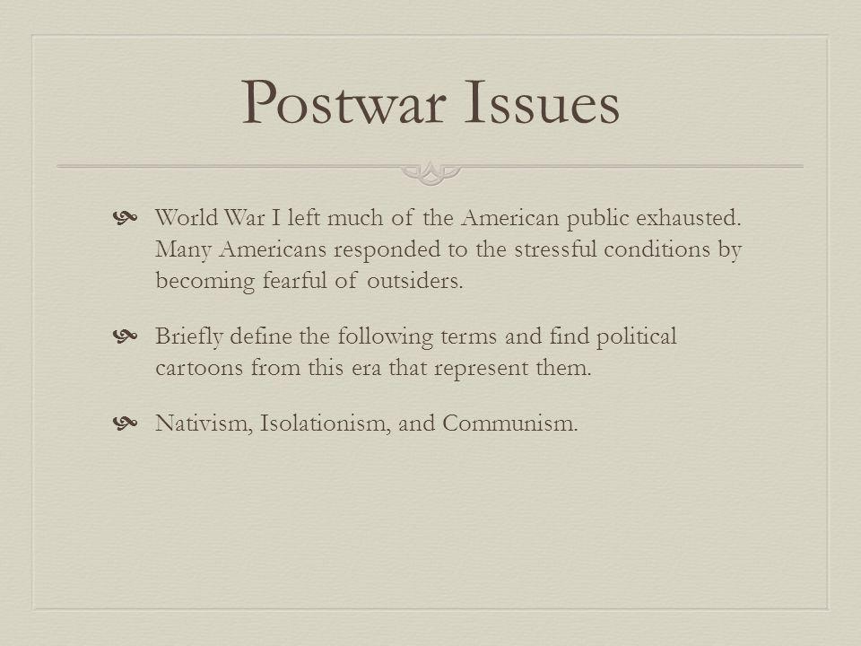 Postwar Issues