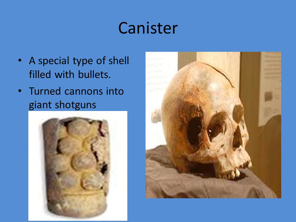 Canister A special type of shell filled with bullets.