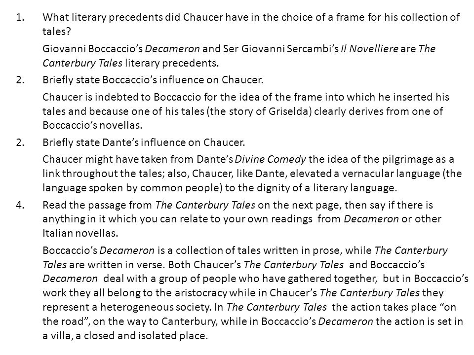 What literary precedents did Chaucer have in the choice of a frame for his collection of tales