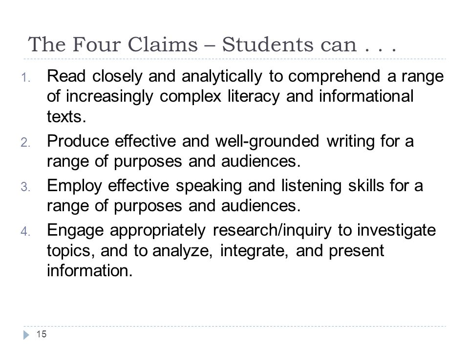 The Four Claims – Students can . . .