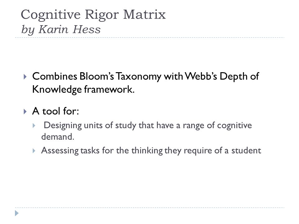 Cognitive Rigor Matrix by Karin Hess