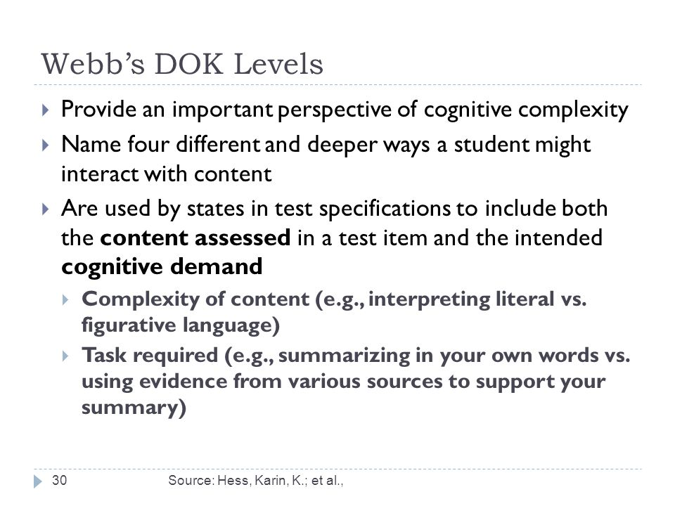 Webb's DOK Levels Provide an important perspective of cognitive complexity.