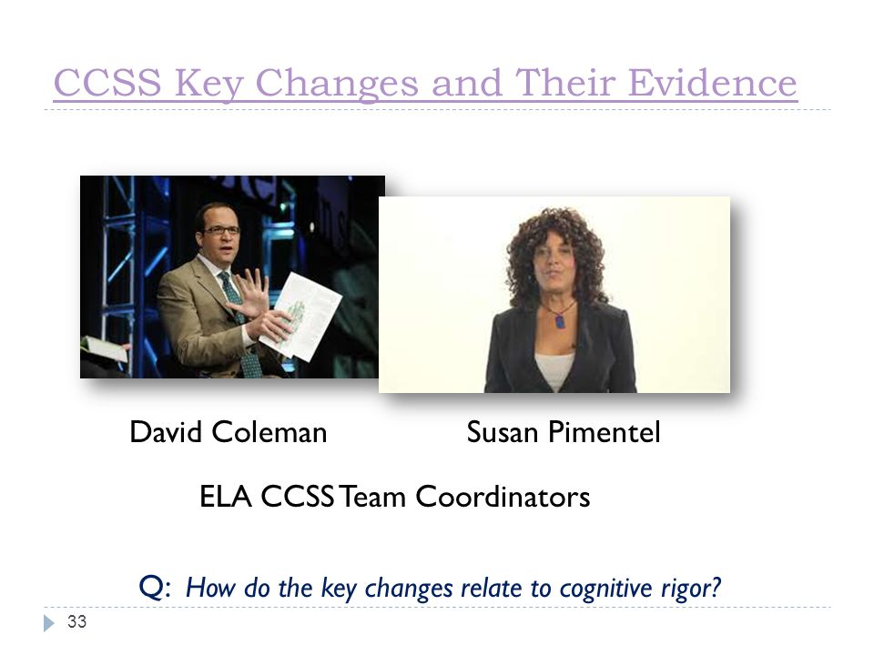CCSS Key Changes and Their Evidence
