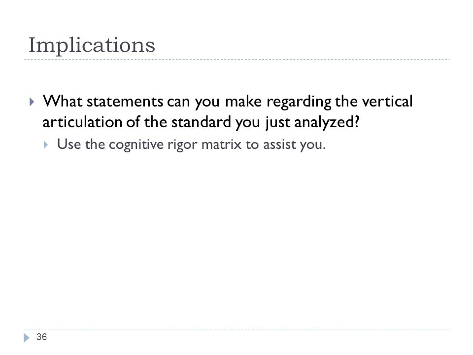 Implications What statements can you make regarding the vertical articulation of the standard you just analyzed