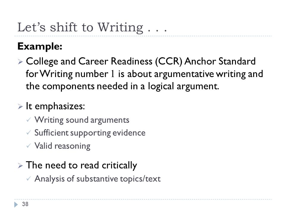 Let's shift to Writing . . . Example: