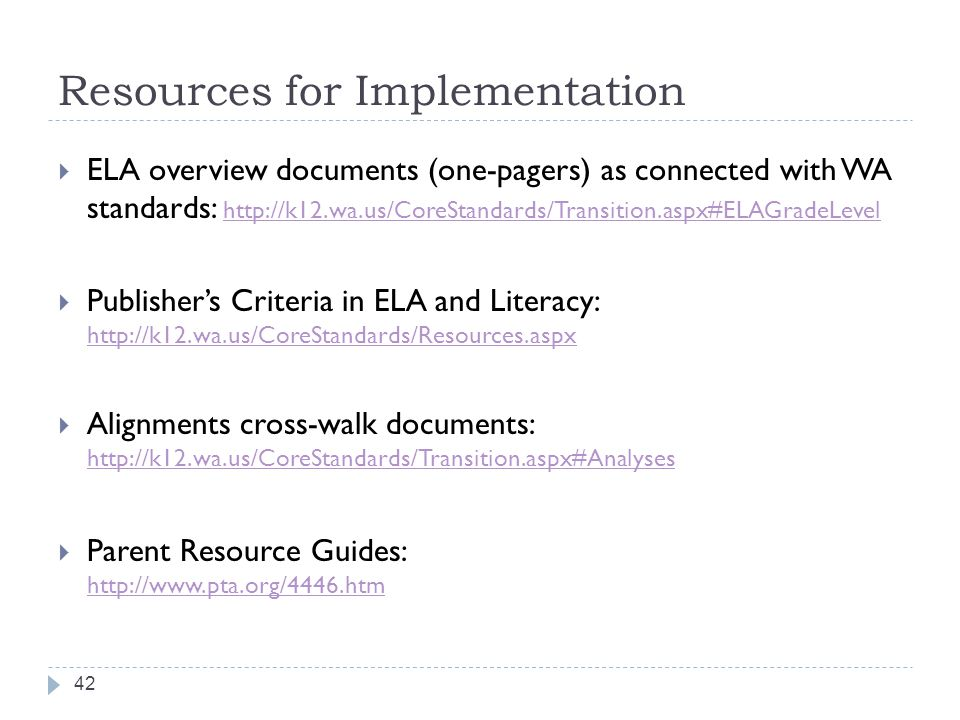 Resources for Implementation