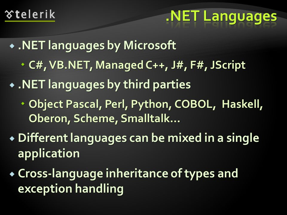 .NET Languages .NET languages by Microsoft
