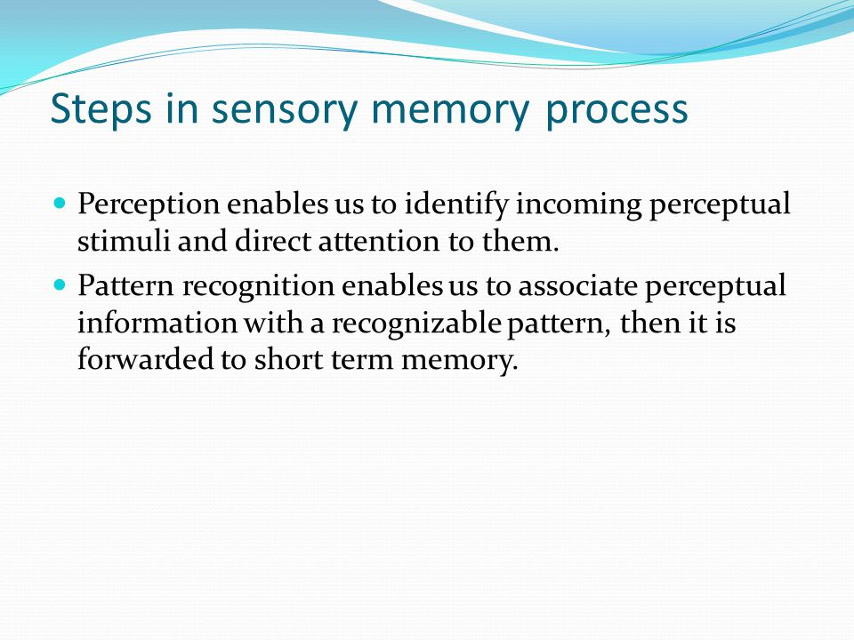 Steps in sensory memory process