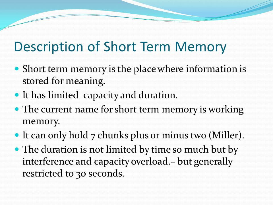 Description of Short Term Memory