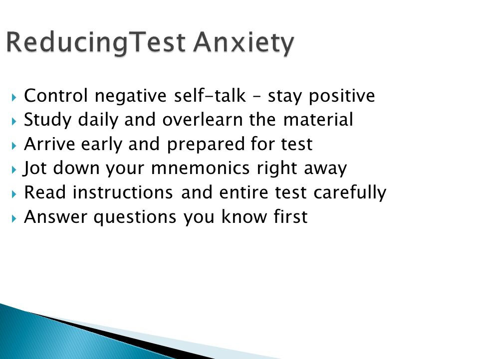 ReducingTest Anxiety Control negative self-talk – stay positive