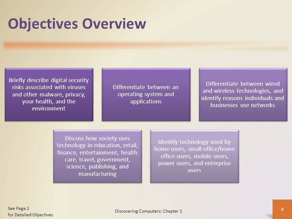 Objectives Overview Briefly describe digital security risks associated with viruses and other malware, privacy, your health, and the environment.