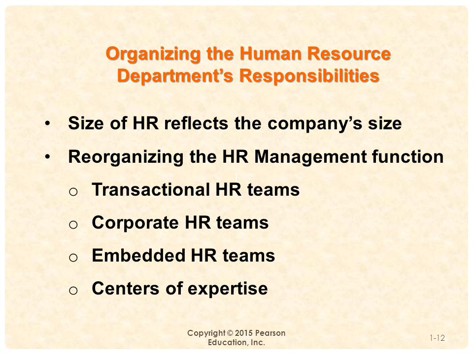 Organizing the Human Resource Department's Responsibilities