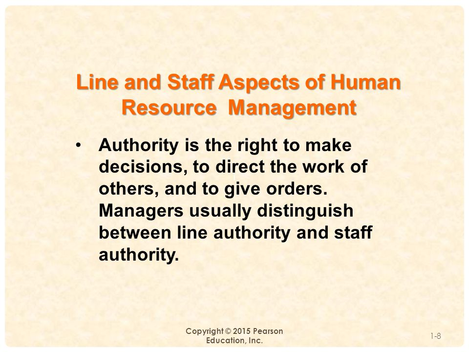 Line and Staff Aspects of Human Resource Management