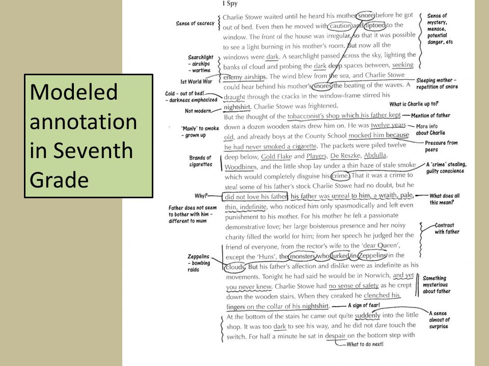 Modeled annotation in Seventh Grade