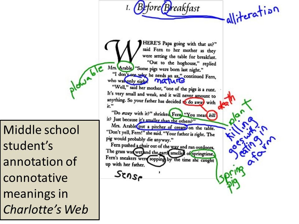 Middle school student's annotation of connotative meanings in Charlotte's Web