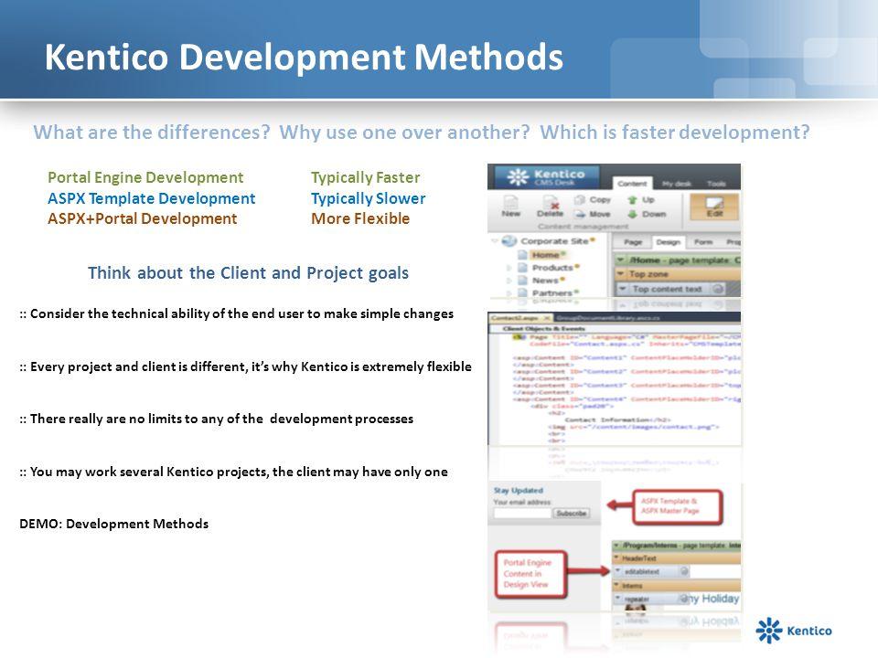 Kentico Development Methods
