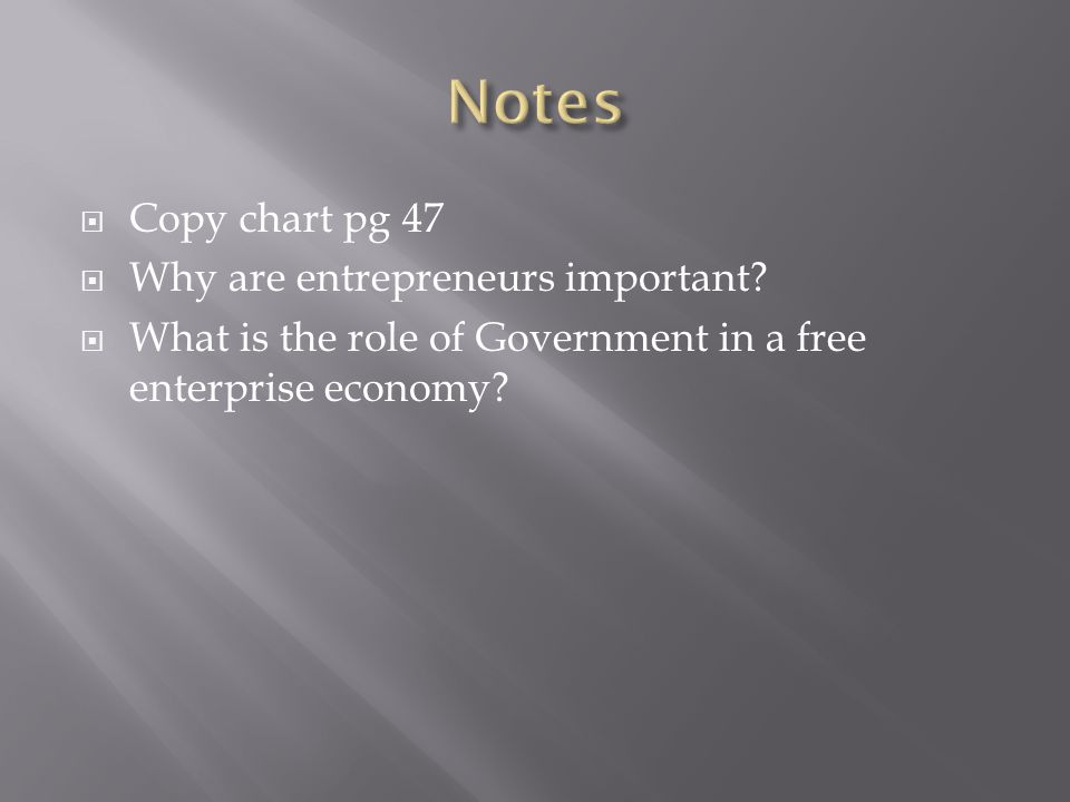 Notes Copy chart pg 47 Why are entrepreneurs important