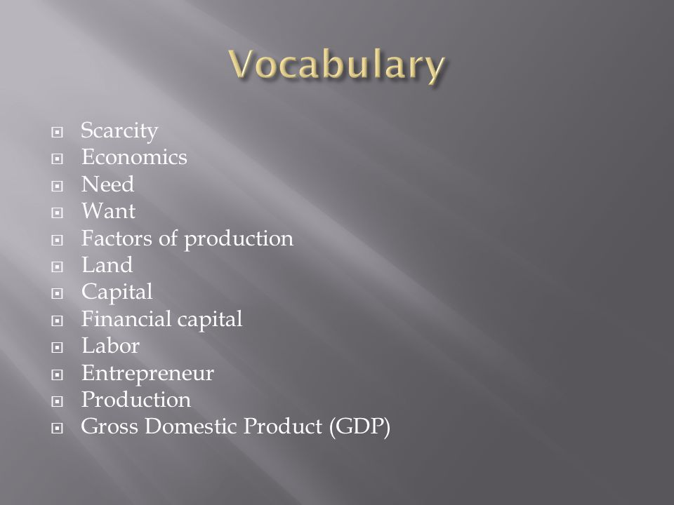 Vocabulary Scarcity Economics Need Want Factors of production Land