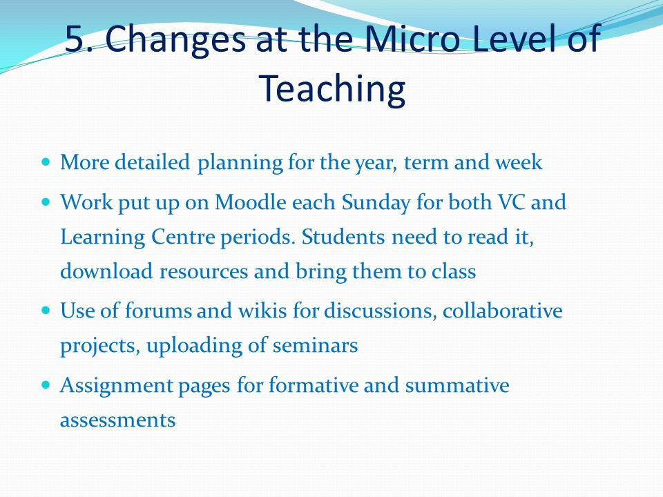 5. Changes at the Micro Level of Teaching