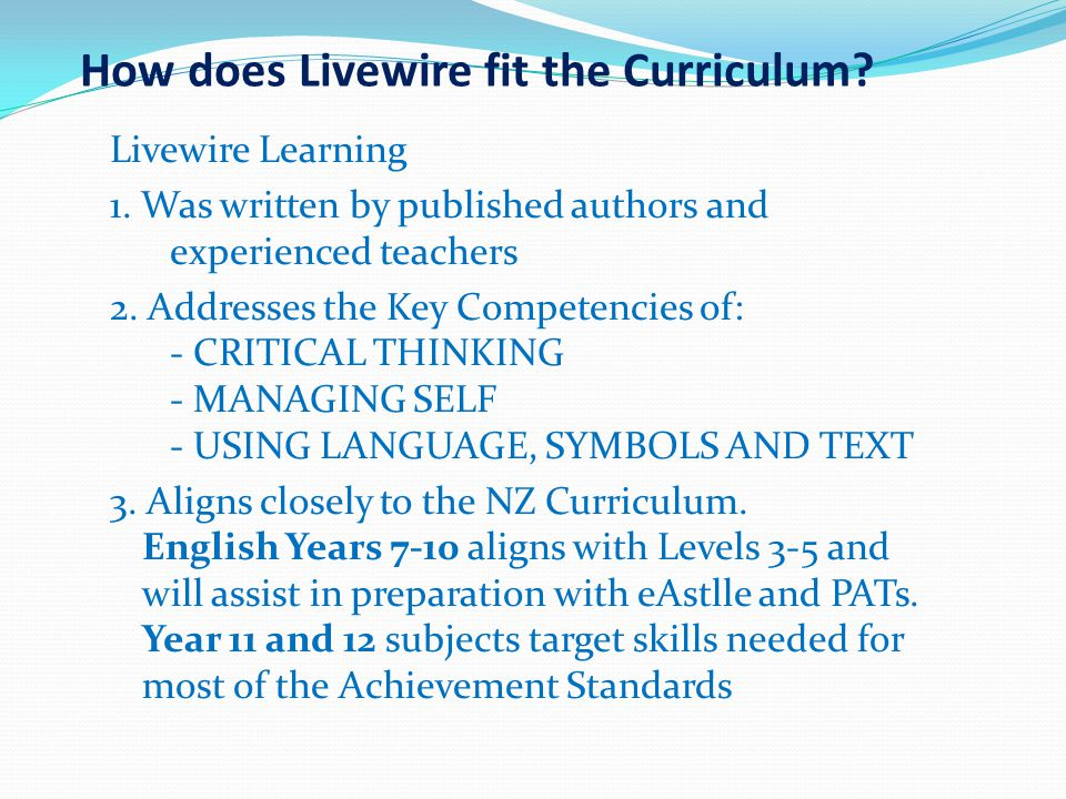 How does Livewire fit the Curriculum