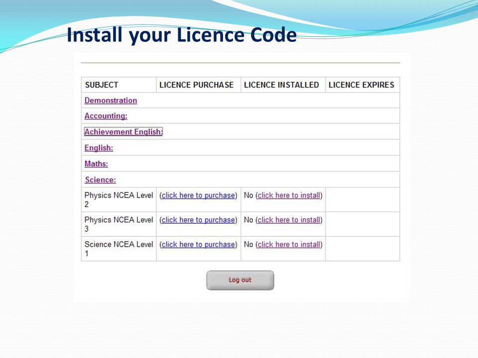 Install your Licence Code