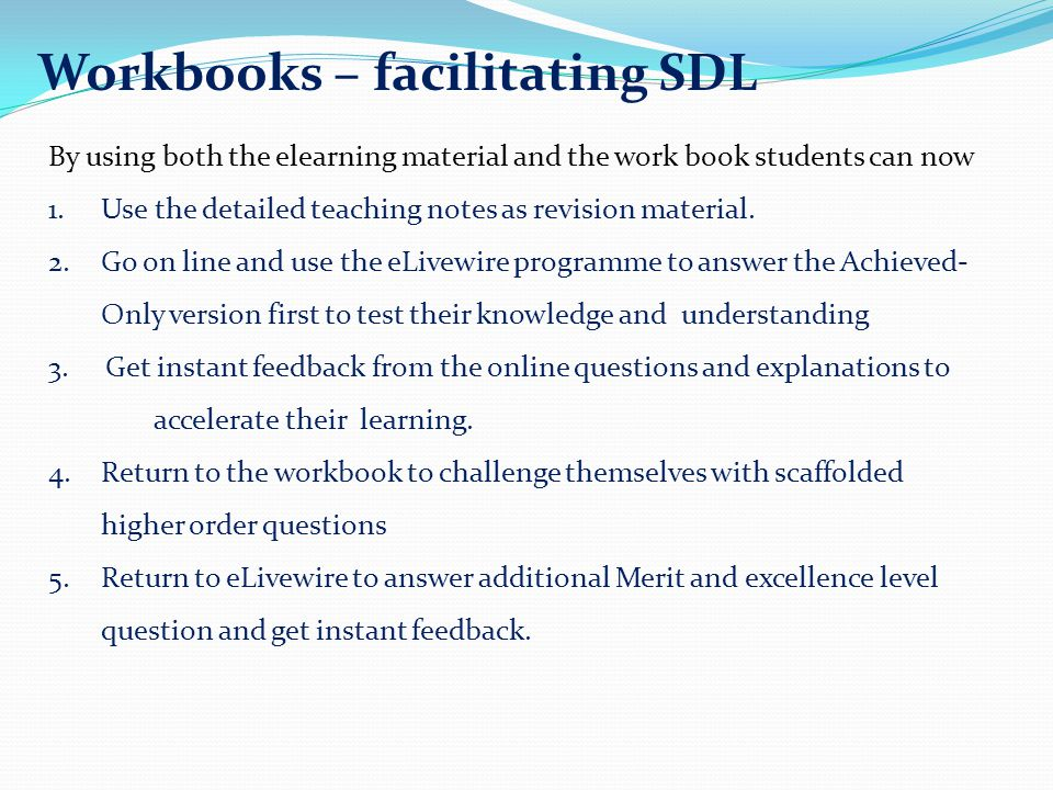 Workbooks – facilitating SDL