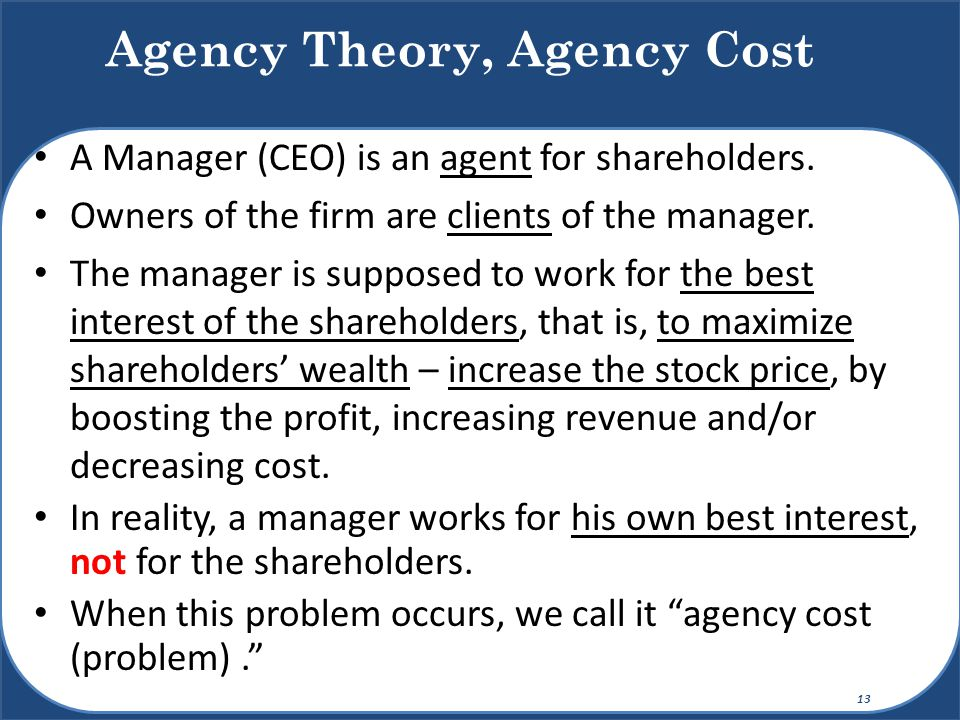 Agency Theory, Agency Cost