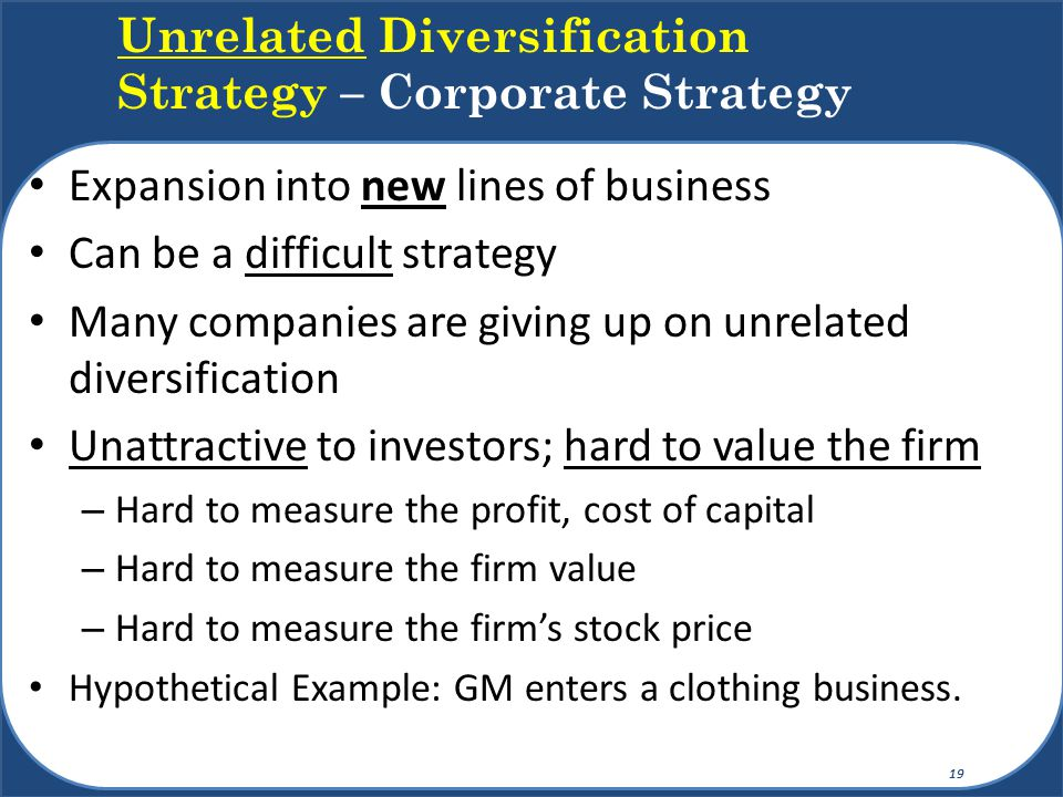 Unrelated Diversification Strategy – Corporate Strategy