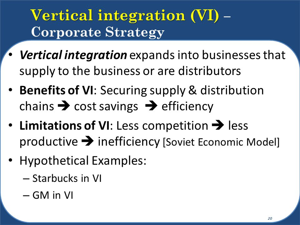 Vertical integration (VI) – Corporate Strategy