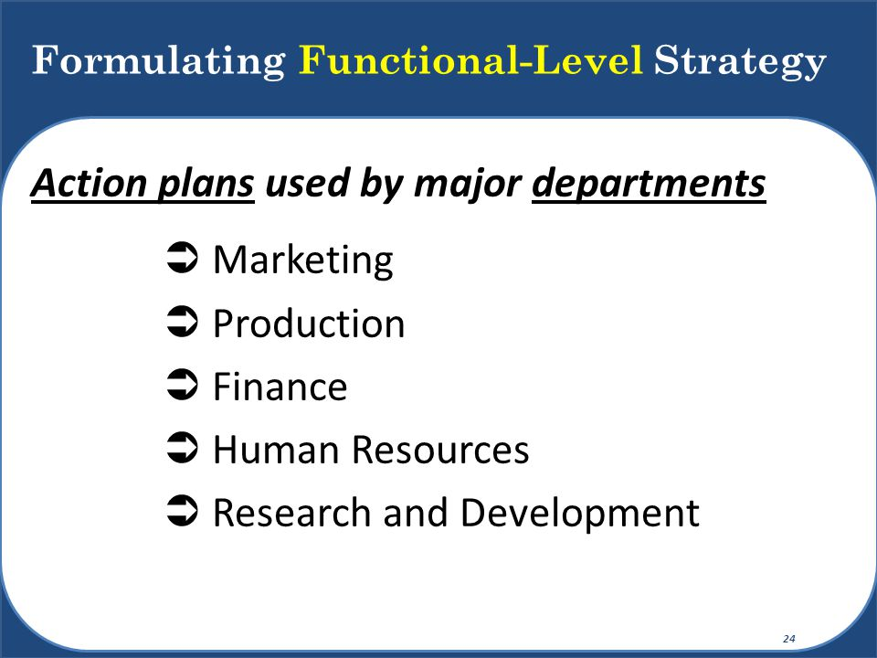 Formulating Functional-Level Strategy