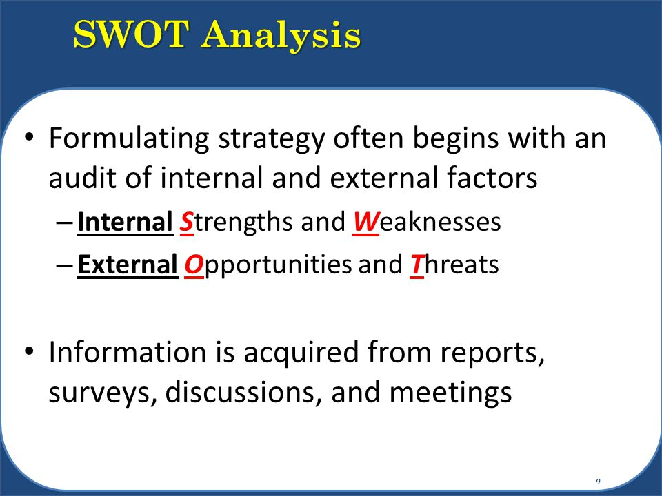 SWOT Analysis Formulating strategy often begins with an audit of internal and external factors. Internal Strengths and Weaknesses.