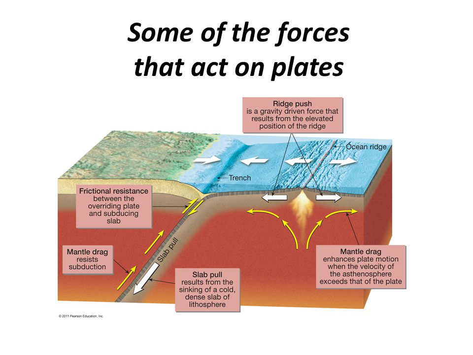 Some of the forces that act on plates