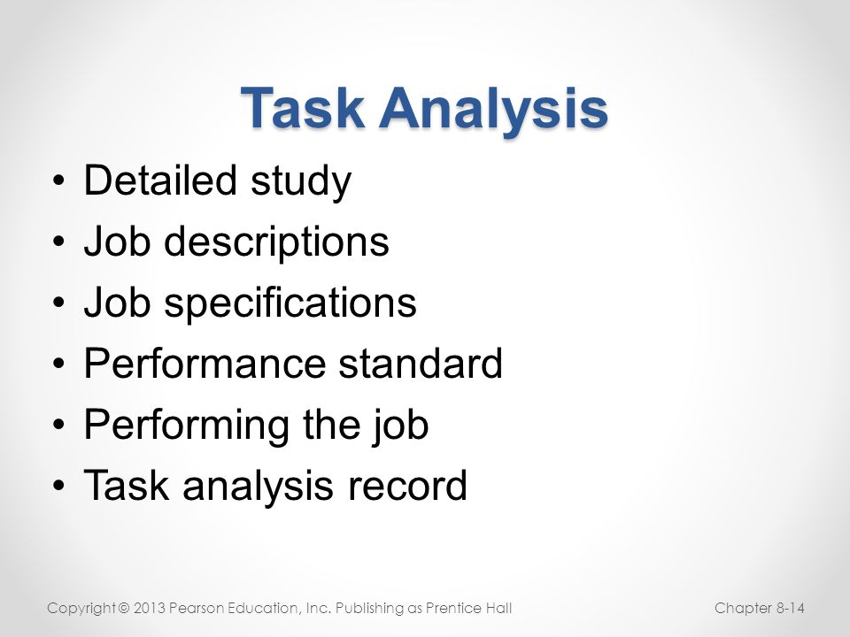Task Analysis Detailed study Job descriptions Job specifications