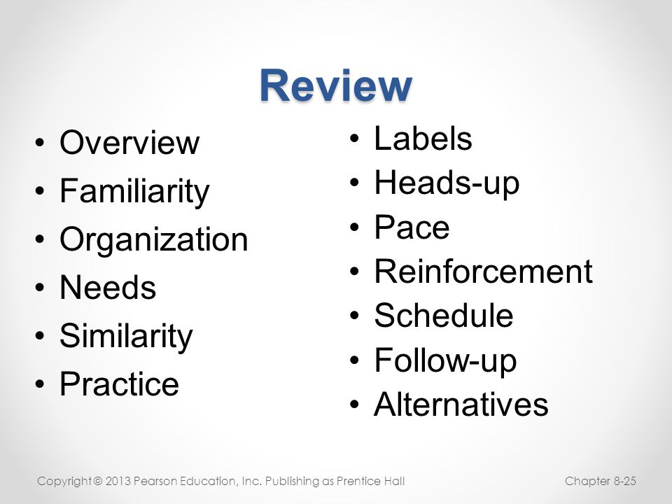 Review Overview Familiarity Organization Needs Similarity Practice