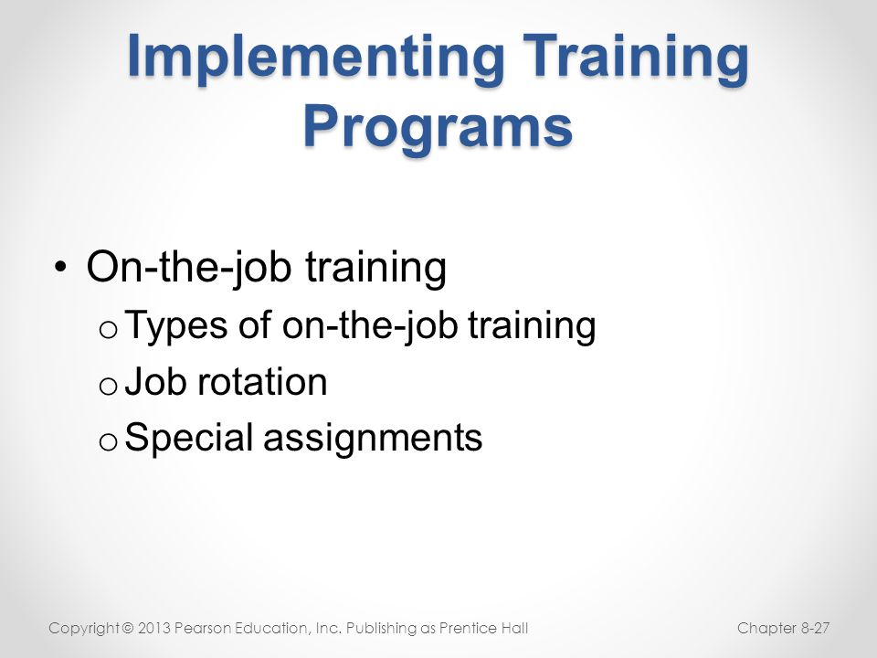 Implementing Training Programs