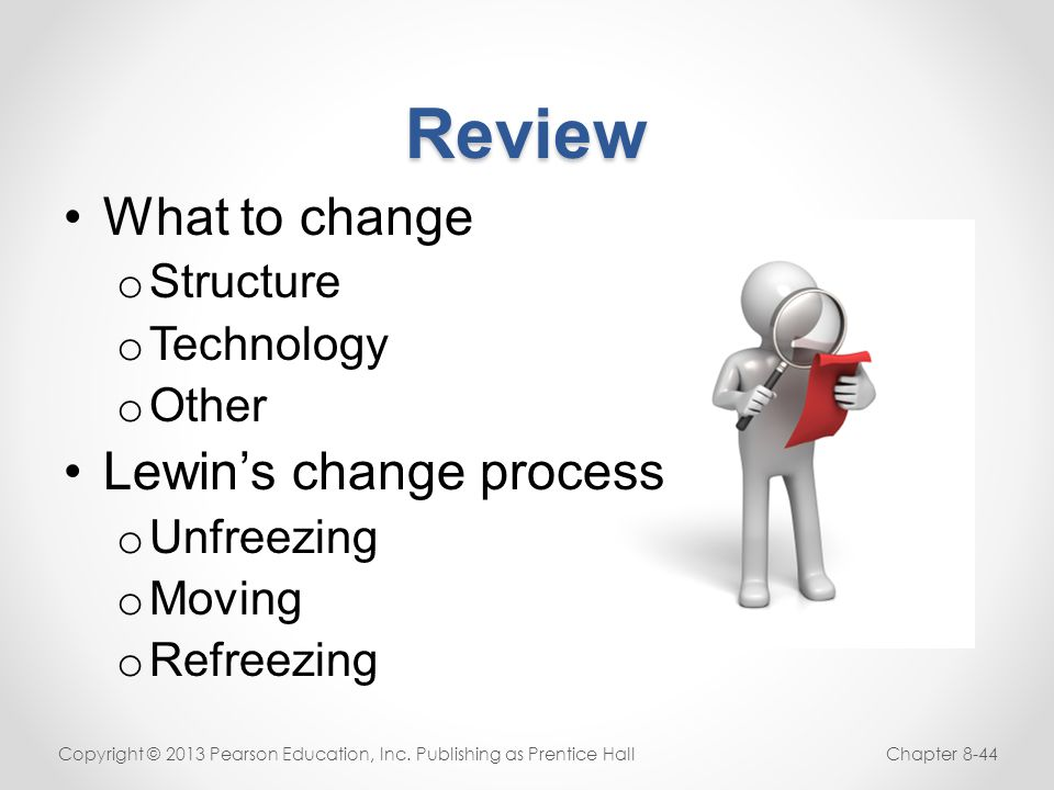 Review What to change Lewin's change process Structure Technology