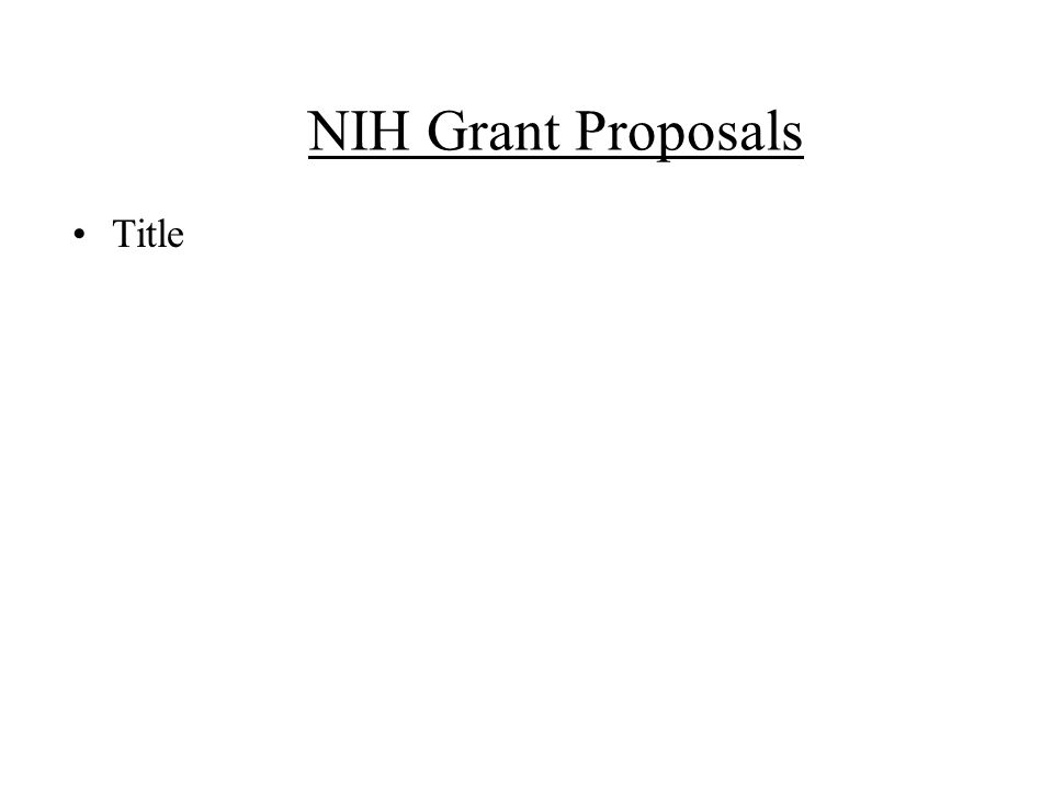 NIH Grant Proposals Title