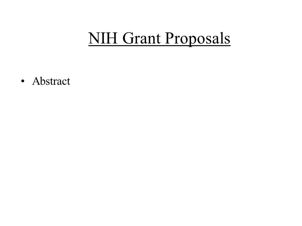 NIH Grant Proposals Abstract