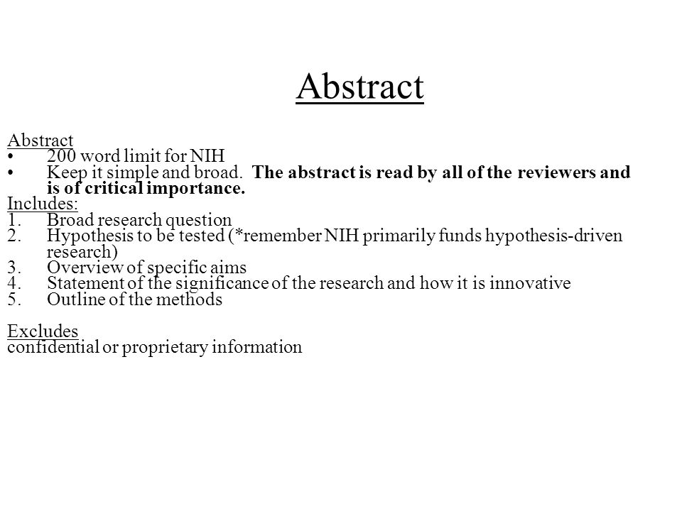 Abstract Abstract 200 word limit for NIH