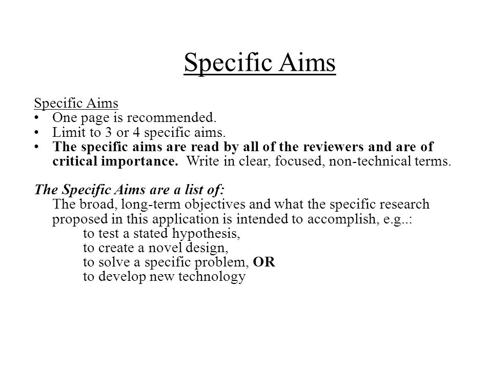 Specific Aims Specific Aims One page is recommended.
