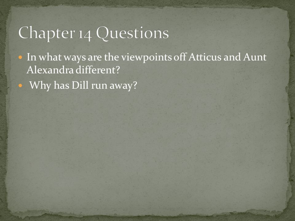 Chapter 14 Questions In what ways are the viewpoints off Atticus and Aunt Alexandra different.