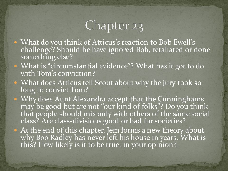 Chapter 23 What do you think of Atticus s reaction to Bob Ewell s challenge Should he have ignored Bob, retaliated or done something else