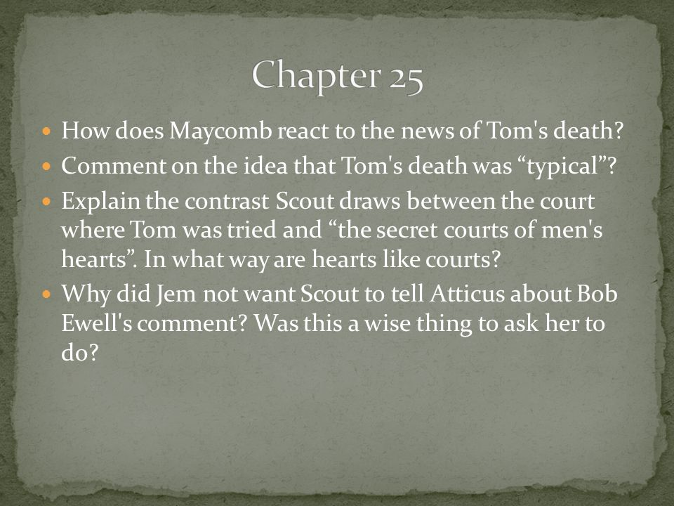 Chapter 25 How does Maycomb react to the news of Tom s death