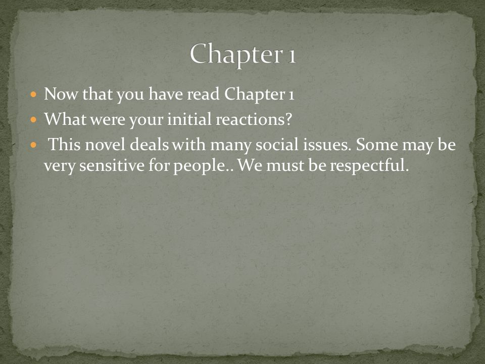 Chapter 1 Now that you have read Chapter 1