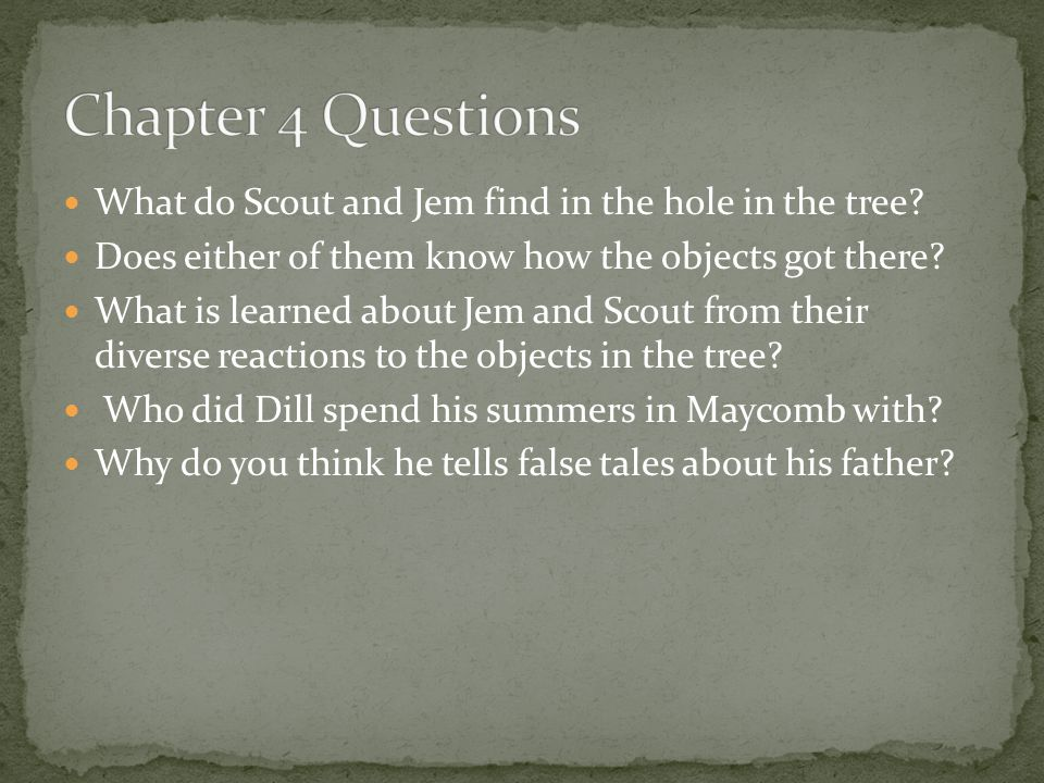 Chapter 4 Questions What do Scout and Jem find in the hole in the tree Does either of them know how the objects got there