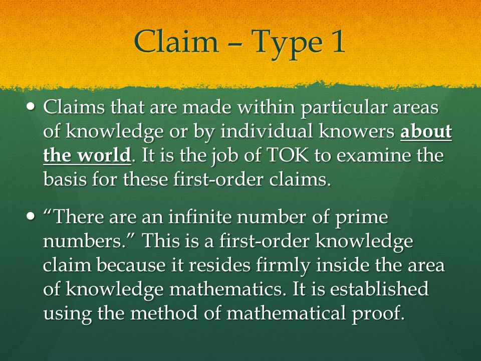 Claim – Type 1