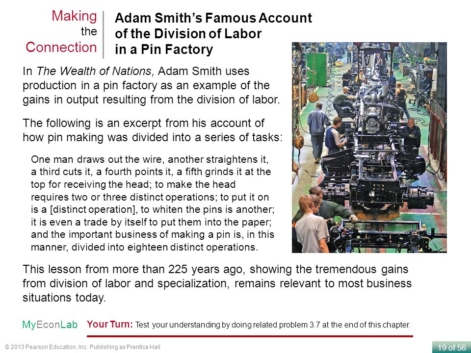 Making the Connection Adam Smith's Famous Account of the Division of Labor in a Pin Factory.