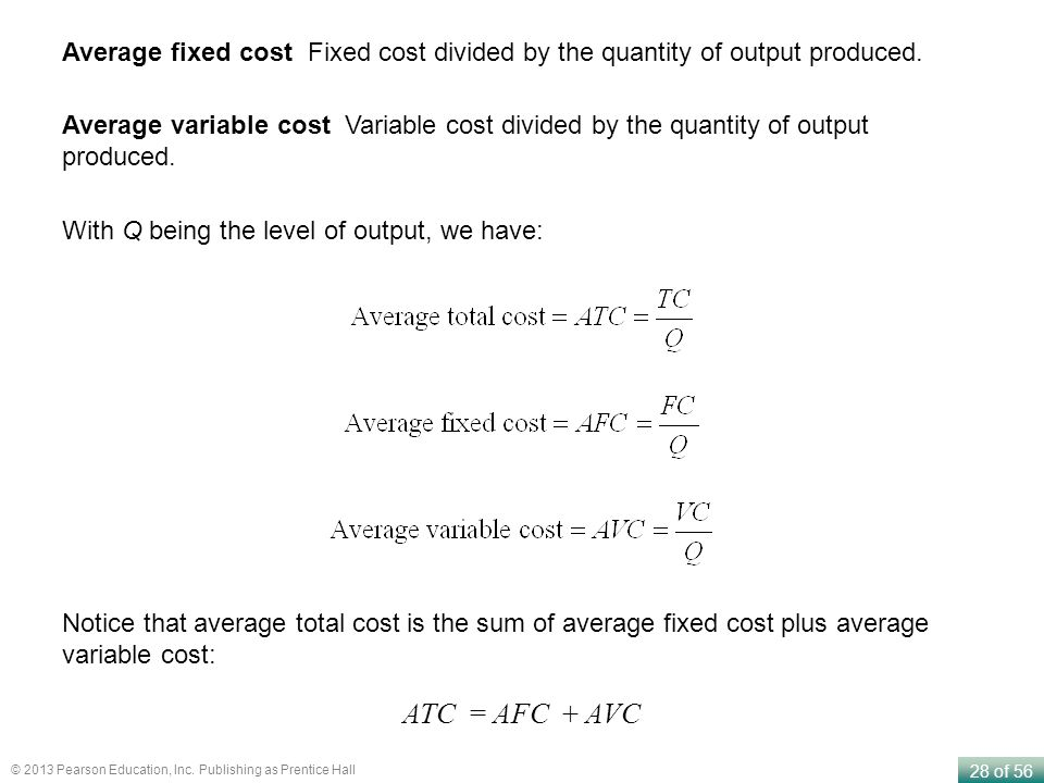 Average fixed cost Fixed cost divided by the quantity of output produced.