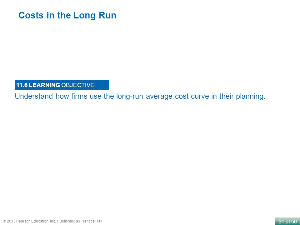 Costs in the Long Run 11.6 LEARNING OBJECTIVE.
