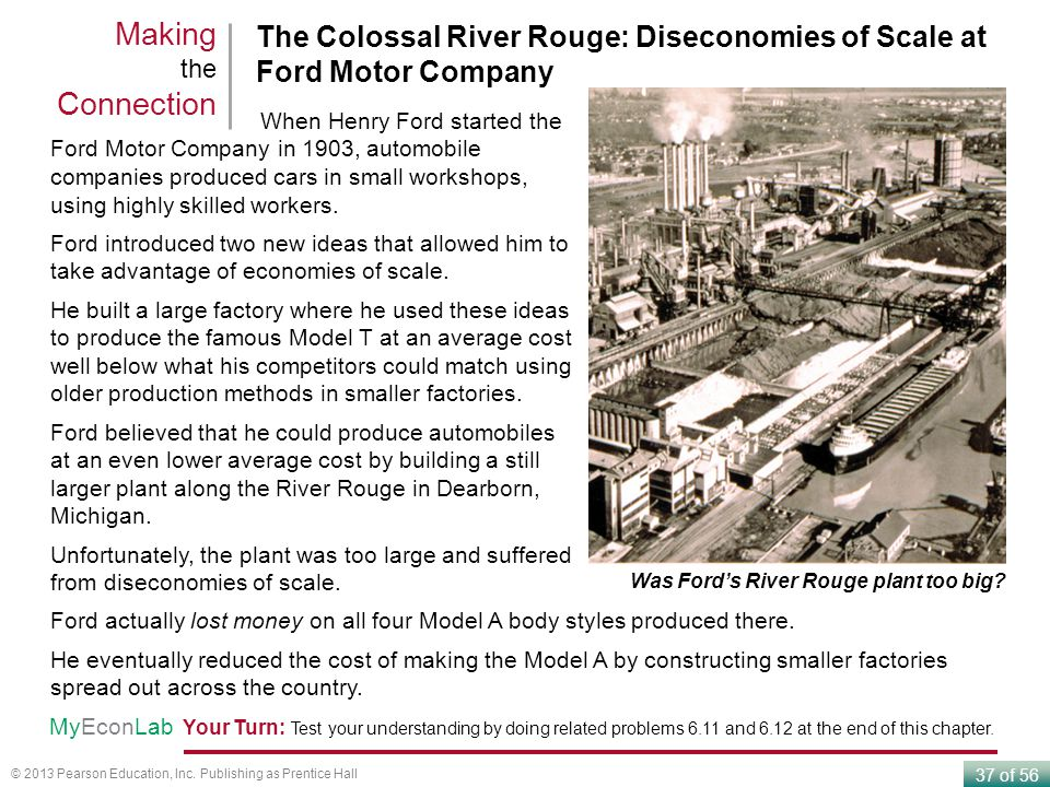 Making the Connection The Colossal River Rouge: Diseconomies of Scale at Ford Motor Company. When Henry Ford started the.